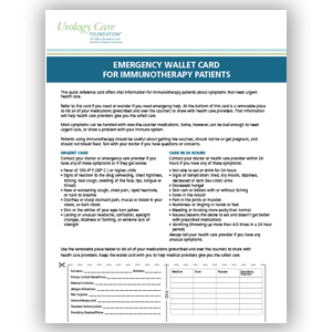 Emergency Wallet Card for Immunotherapy Patients