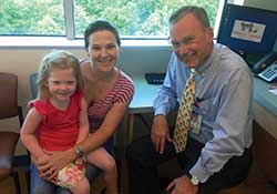Addison Parks along with her Mom Sara and Addison's doctor Craig A. Peters, MD