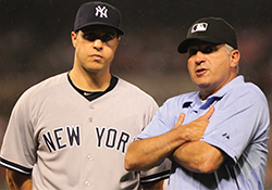 New York Yankee Mark Teixeira and MLB Umpire John Hirschbeck