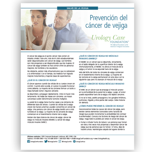 Spanish Preventing Bladder Cancer Fact Sheet